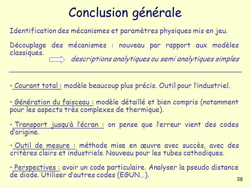 58 Conclusion générale Génération du faisceau : modèle détaillé et bien compris (notamment pour les aspects très complexes de thermique). Courant tota