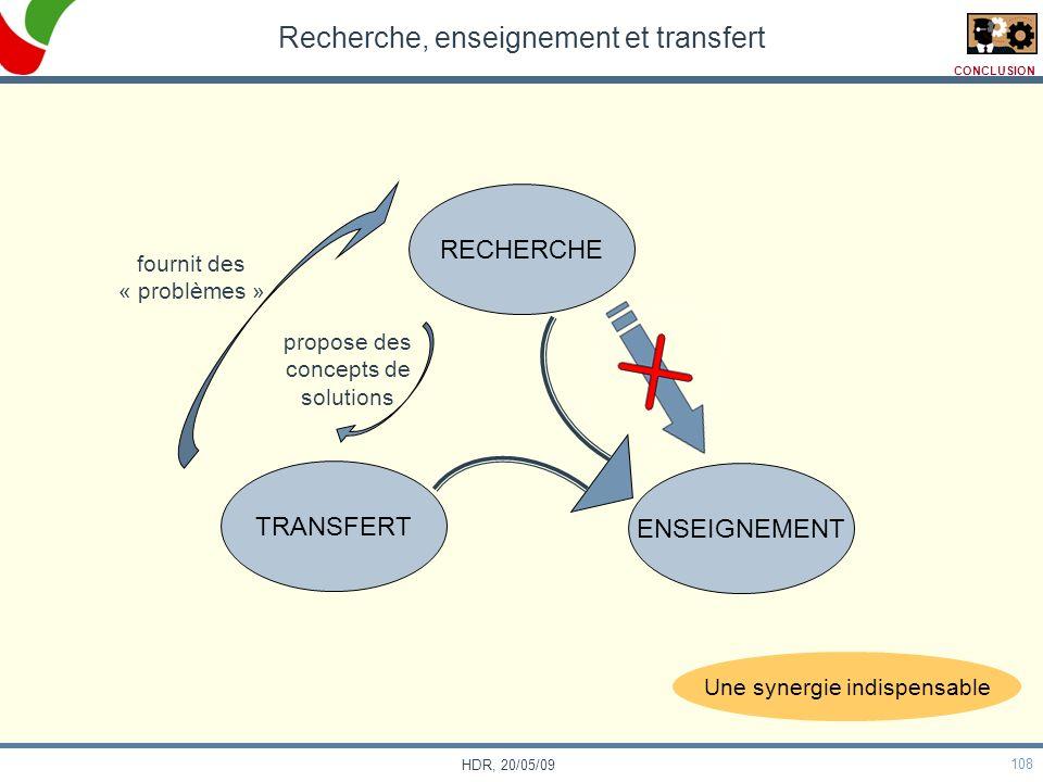 108 HDR, 20/05/09 Recherche, enseignement et transfert TRANSFERT ENSEIGNEMENT RECHERCHE fournit des « problèmes » propose des concepts de solutions CO