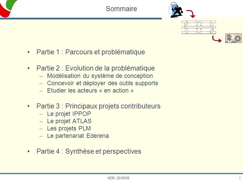 2 HDR, 20/05/09 Sommaire Partie 1 : Parcours et problématique Partie 2 : Evolution de la problématique – Modélisation du système de conception – Conce