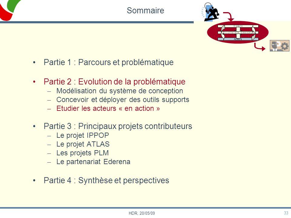 33 HDR, 20/05/09 Sommaire Partie 1 : Parcours et problématique Partie 2 : Evolution de la problématique – Modélisation du système de conception – Conc