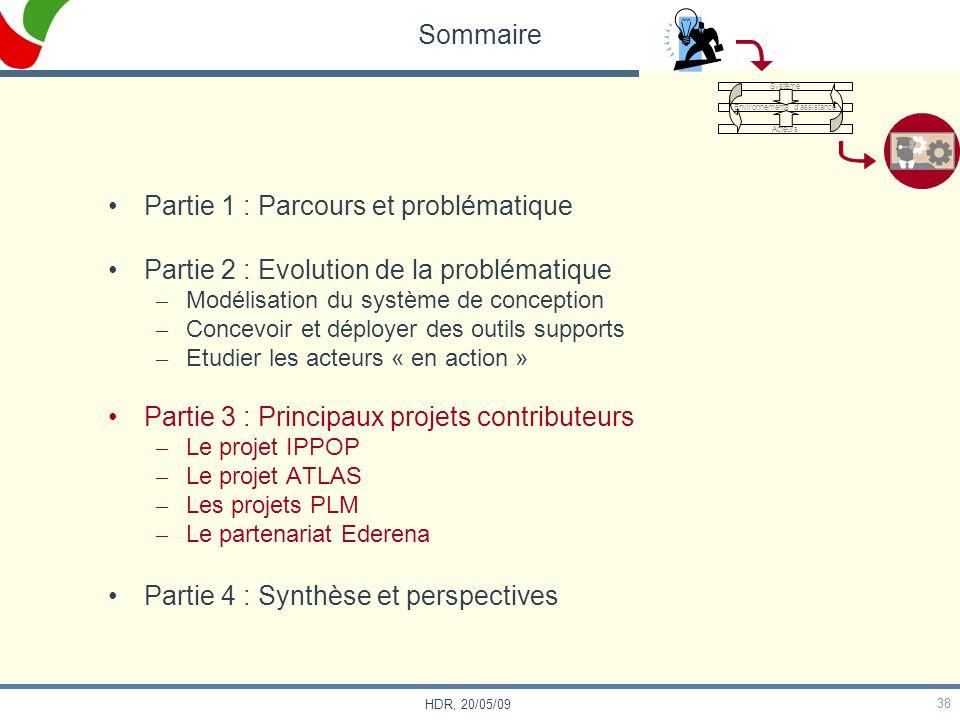 38 HDR, 20/05/09 Sommaire Partie 1 : Parcours et problématique Partie 2 : Evolution de la problématique – Modélisation du système de conception – Conc