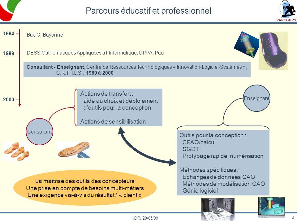 4 HDR, 20/05/09 Parcours éducatif et professionnel Enseignant Consultant Actions de transfert : aide au choix et déploiement doutils pour la conceptio