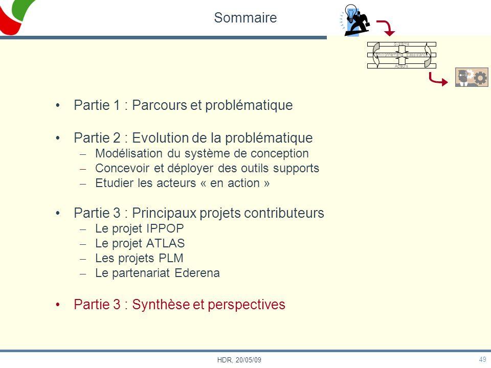 49 HDR, 20/05/09 Sommaire Partie 1 : Parcours et problématique Partie 2 : Evolution de la problématique – Modélisation du système de conception – Conc