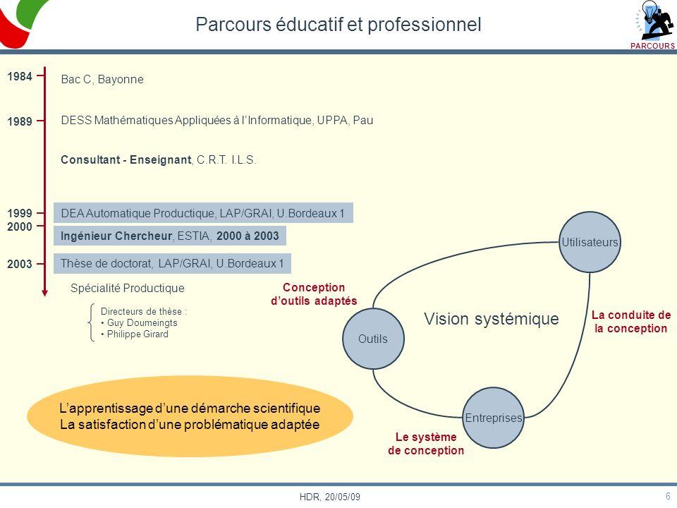 6 HDR, 20/05/09 Ingénieur Chercheur, ESTIA, 2000 à 2003 DEA Automatique Productique, LAP/GRAI, U.Bordeaux 1 Thèse de doctorat, LAP/GRAI, U.Bordeaux 1