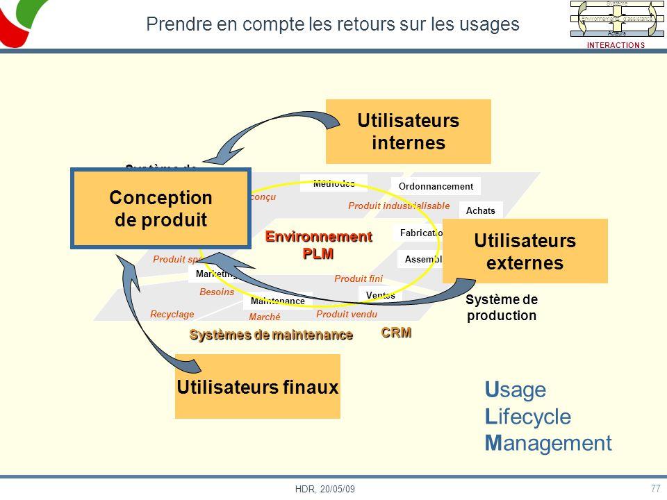 77 HDR, 20/05/09 Prendre en compte les retours sur les usages Environnement PLM Méthodes Conception Marketing Maintenance Ventes Fabrication Ordonnanc