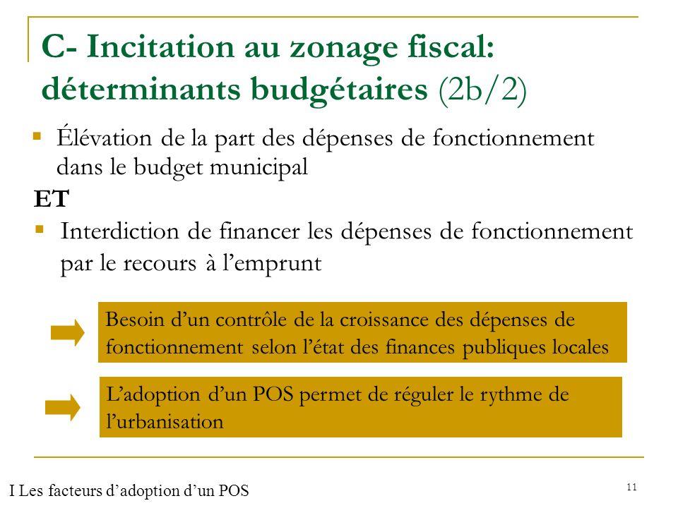 12 C- Résultats des facteurs testés (2c/2) Zonage fiscal (gestion des finances publiques) (+)(-) croissance du taux dimposition sur FB +32,5% croissance du taux dimposition sur FNB -8% (α=9%) Coefficient de mobilisation fiscale de la TH +11,5% niveau des dépenses dinvestissement / hab +14,4% (α=10%) niveau des dépenses de personnel / hab +45% Niveau dendettement / hab +26% I Les facteurs dadoption dun POS
