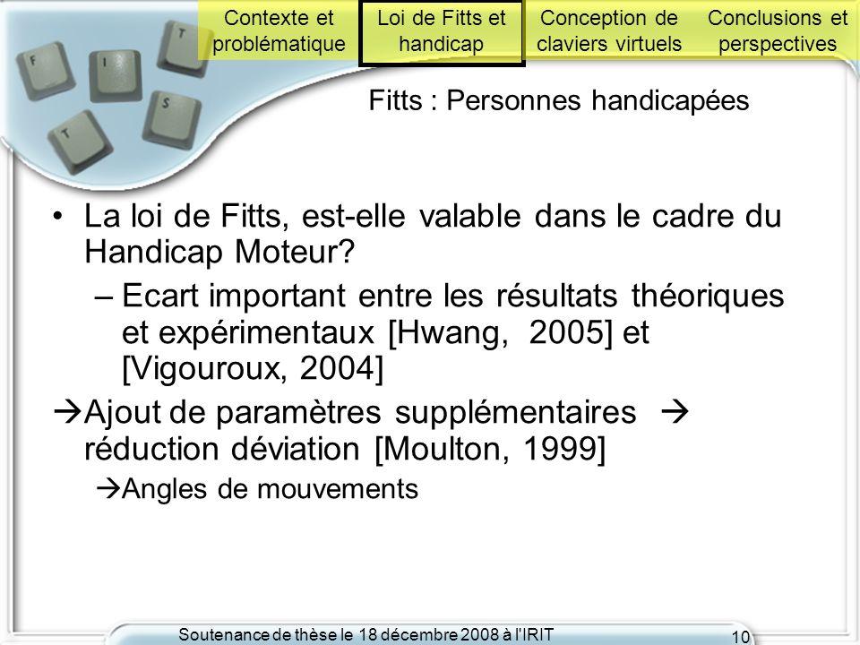 Soutenance de thèse le 18 décembre 2008 à l'IRIT 10 Fitts : Personnes handicapées La loi de Fitts, est-elle valable dans le cadre du Handicap Moteur?