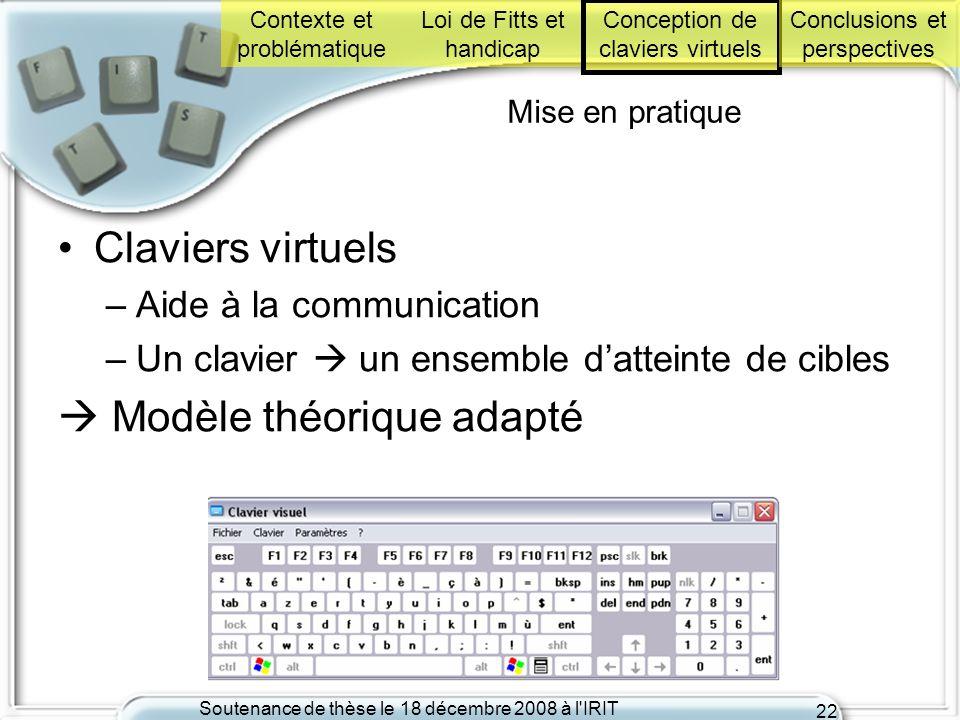 Soutenance de thèse le 18 décembre 2008 à l'IRIT 22 Mise en pratique Claviers virtuels –Aide à la communication –Un clavier un ensemble datteinte de c