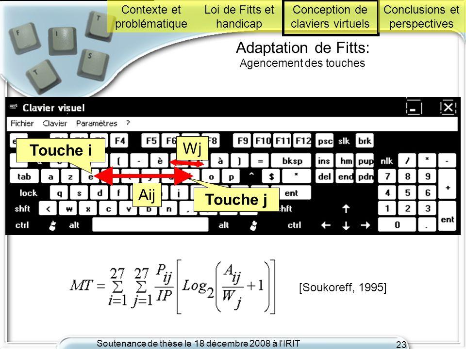 Soutenance de thèse le 18 décembre 2008 à l'IRIT 23 Adaptation de Fitts: Agencement des touches [Soukoreff, 1995] Touche i Touche j Aij Wj Contexte et