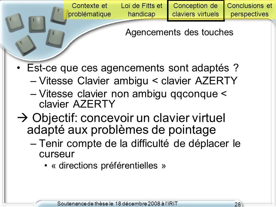 Soutenance de thèse le 18 décembre 2008 à l'IRIT 28 Agencements des touches Est-ce que ces agencements sont adaptés ? –Vitesse Clavier ambigu < clavie