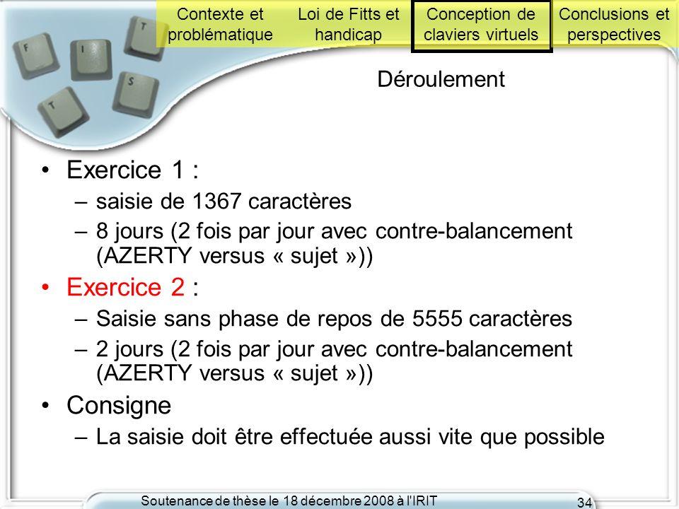 Soutenance de thèse le 18 décembre 2008 à l'IRIT 34 Déroulement Exercice 1 : –saisie de 1367 caractères –8 jours (2 fois par jour avec contre-balancem