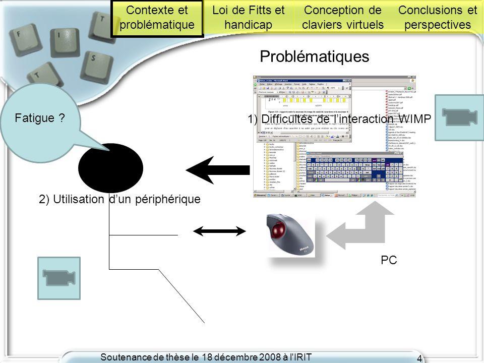 Soutenance de thèse le 18 décembre 2008 à l'IRIT 4 Problématiques PC Fatigue ? Contexte et problématique Loi de Fitts et handicap Conception de clavie
