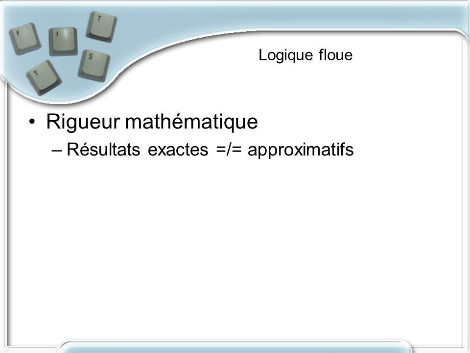 Logique floue Rigueur mathématique –Résultats exactes =/= approximatifs