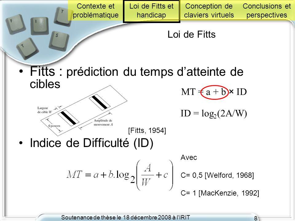 Soutenance de thèse le 18 décembre 2008 à l'IRIT 8 MT = a + b × ID ID = log 2 (2A/W) [Fitts, 1954] Loi de Fitts Fitts : prédiction du temps datteinte