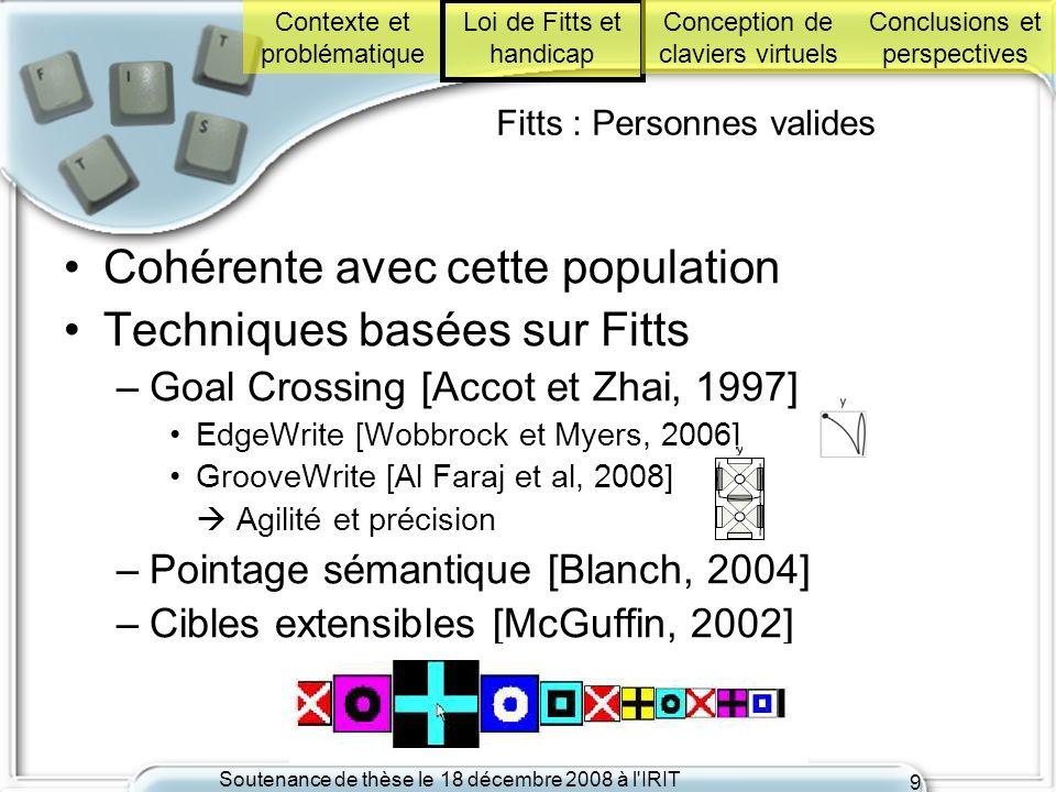 Soutenance de thèse le 18 décembre 2008 à l'IRIT 9 Fitts : Personnes valides Cohérente avec cette population Techniques basées sur Fitts –Goal Crossin