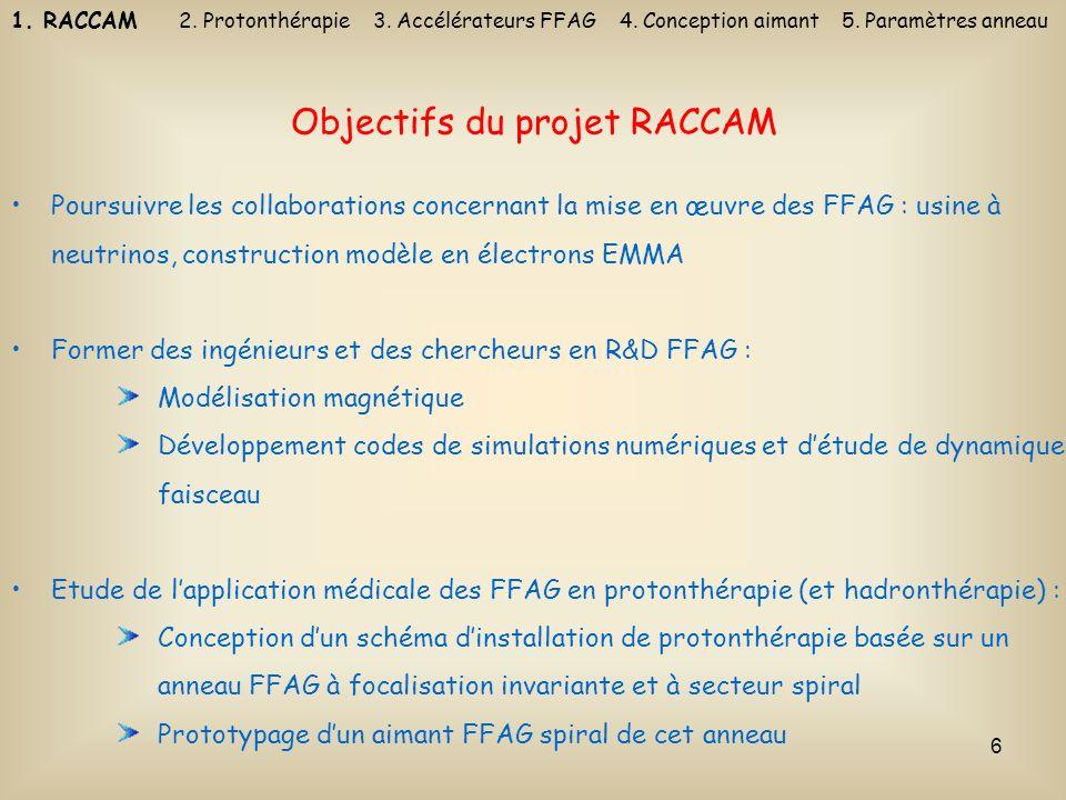 6 Objectifs du projet RACCAM Poursuivre les collaborations concernant la mise en œuvre des FFAG : usine à neutrinos, construction modèle en électrons