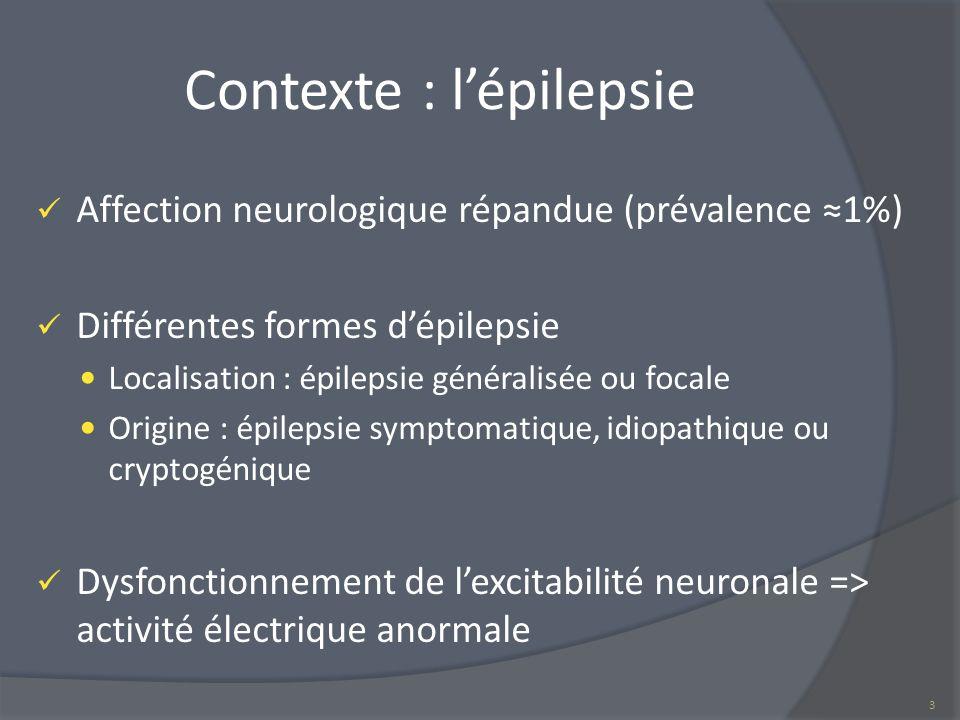 Contexte : lépilepsie Affection neurologique répandue (prévalence 1%) Différentes formes dépilepsie Localisation : épilepsie généralisée ou focale Ori