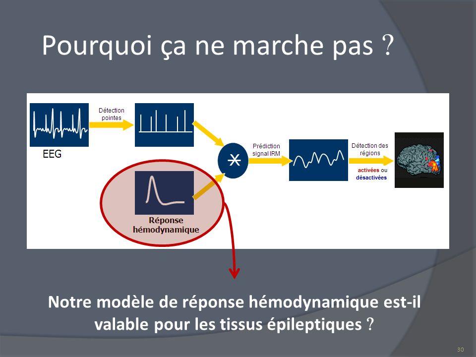 Pourquoi ça ne marche pas Notre modèle de réponse hémodynamique est-il valable pour les tissus épileptiques 30