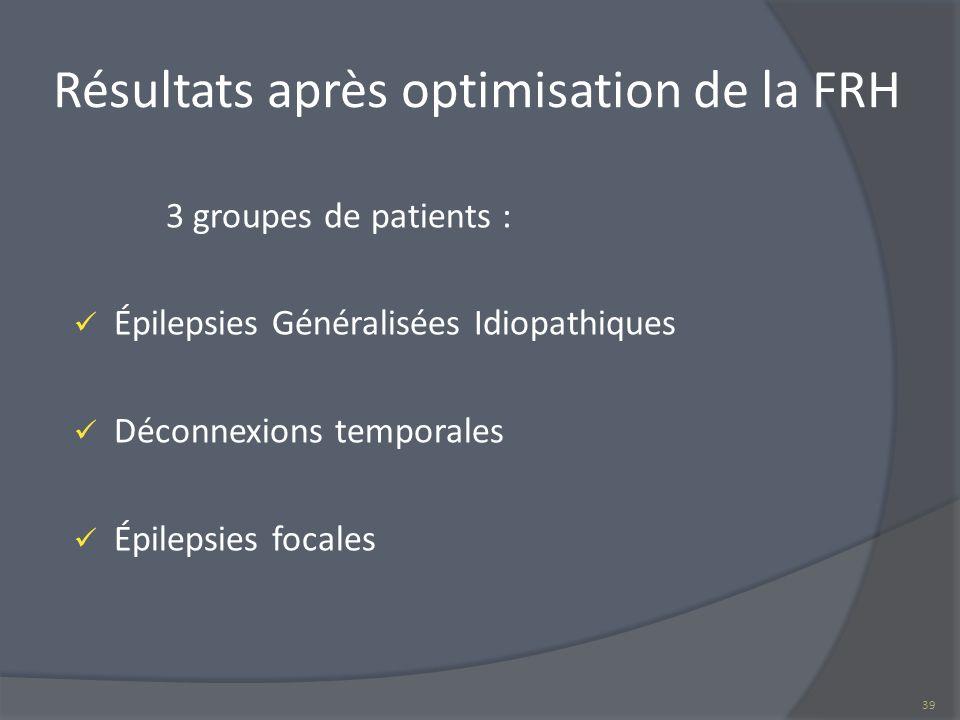 Résultats après optimisation de la FRH 39 3 groupes de patients : Épilepsies Généralisées Idiopathiques Déconnexions temporales Épilepsies focales