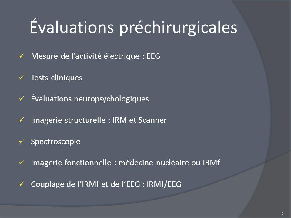 Évaluations préchirurgicales Mesure de lactivité électrique : EEG Tests cliniques Évaluations neuropsychologiques Imagerie structurelle : IRM et Scann