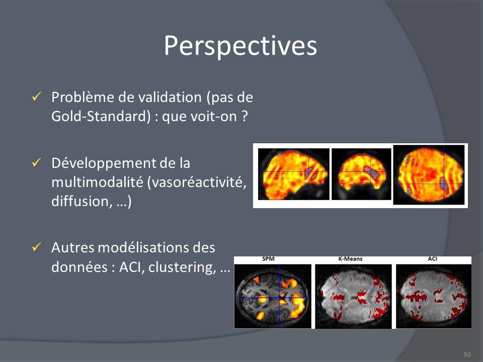 Perspectives Problème de validation (pas de Gold-Standard) : que voit-on ? Développement de la multimodalité (vasoréactivité, diffusion, …) Autres mod