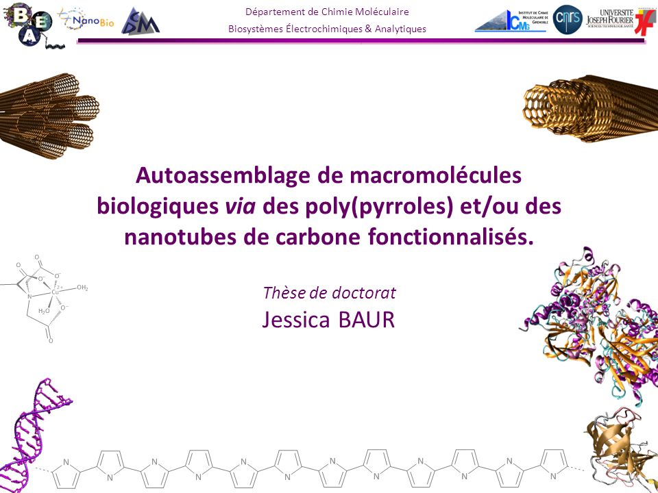 Département de Chimie Moléculaire Biosystèmes Électrochimiques & Analytiques Autoassemblage de macromolécules biologiques via des poly(pyrroles) et/ou des nanotubes de carbone fonctionnalisés.
