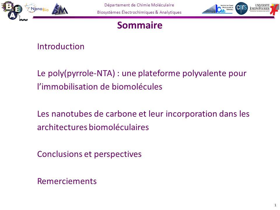 Département de Chimie Moléculaire Biosystèmes Électrochimiques & Analytiques Sommaire Introduction Le poly(pyrrole-NTA) : une plateforme polyvalente pour limmobilisation de biomolécules Les nanotubes de carbone et leur incorporation dans les architectures biomoléculaires Fonctionnalisation multiple de CNTs Combinaison CNTs/poly(pyrrole) pour la connexion dune réductase Conclusions et perspectives Remerciements 22