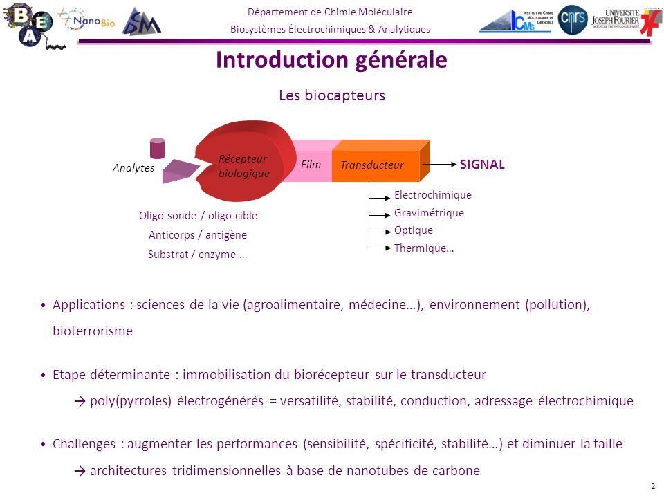 Département de Chimie Moléculaire Biosystèmes Électrochimiques & Analytiques choix de la sonde électrochimique : 1) Fe(CN) 6 3/4- (4.10 -3 mol.L -1 ), E app = OCP / ECS et E = 5 mV rms.