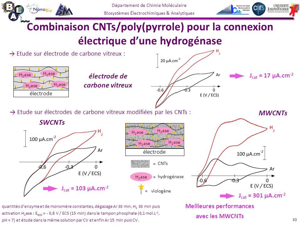 Département de Chimie Moléculaire Biosystèmes Électrochimiques & Analytiques Etude sur électrode de carbone vitreux : MWCNTs Meilleures performances avec les MWCNTs 30 H 2 ase électrode H 2 ase hydrogénase = viologène = CNTs = Etude sur électrodes de carbone vitreux modifiées par les CNTs : J cat = 17 µA.cm -2 SWCNTs J cat = 103 µA.cm -2 électrode de carbone vitreux J cat = 301 µA.cm -2 quantités denzyme et de monomère constantes, dégazage Ar 30 min, H 2 30 min puis activation H 2 ase : E app = - 0,8 V / ECS (15 min) dans le tampon phosphate (0,1 mol.L -1, pH = 7) et étude dans la même solution par CV et enfin Ar 15 min puis CV.