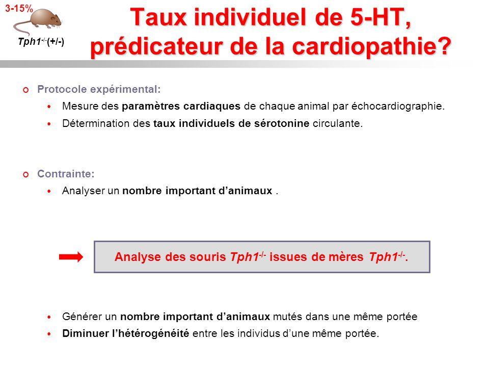 Taux individuel de 5-HT, prédicateur de la cardiopathie? Tph1 -/- (+/-) 3-15% Protocole expérimental: Mesure des paramètres cardiaques de chaque anima