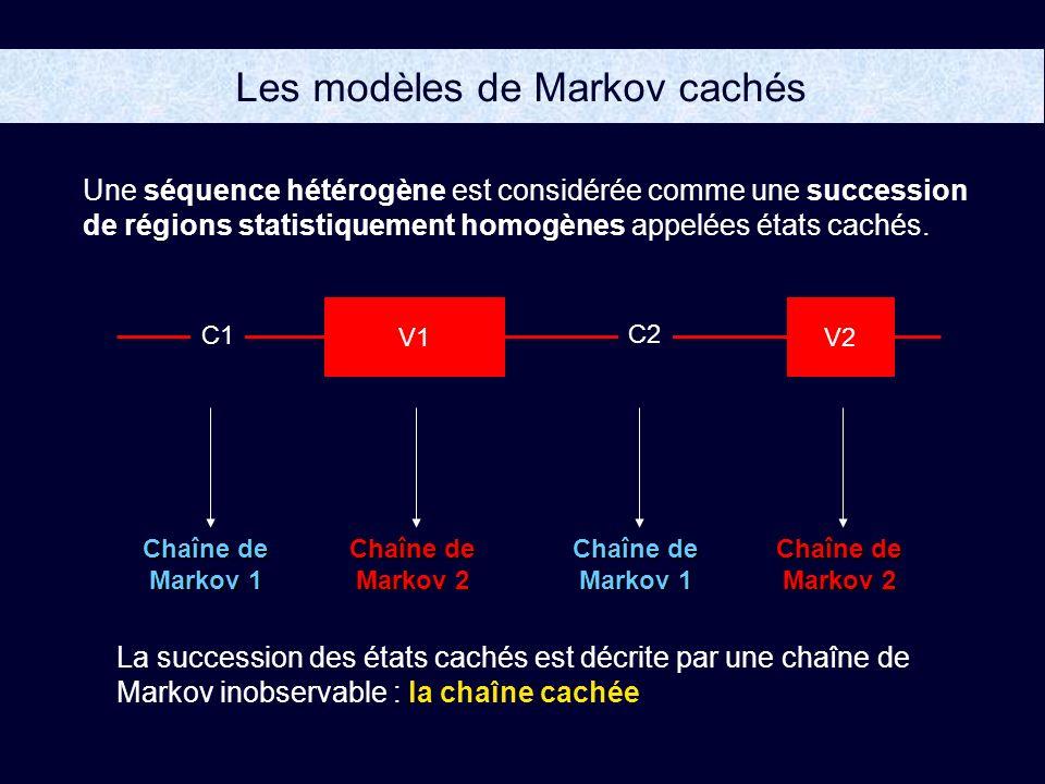 Les modèles de Markov cachés Chaîne de Markov 1 Chaîne de Markov 2 Chaîne de Markov 1 La succession des états cachés est décrite par une chaîne de Markov inobservable : la chaîne cachée Une séquence hétérogène est considérée comme une succession de régions statistiquement homogènes appelées états cachés.
