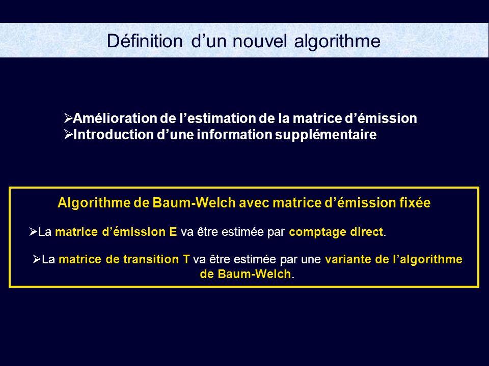 Amélioration de lestimation de la matrice démission Introduction dune information supplémentaire La matrice démission E va être estimée par comptage direct.