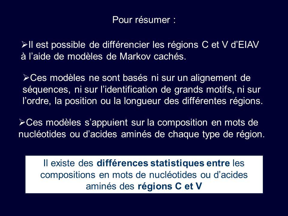 Il est possible de différencier les régions C et V dEIAV à laide de modèles de Markov cachés.
