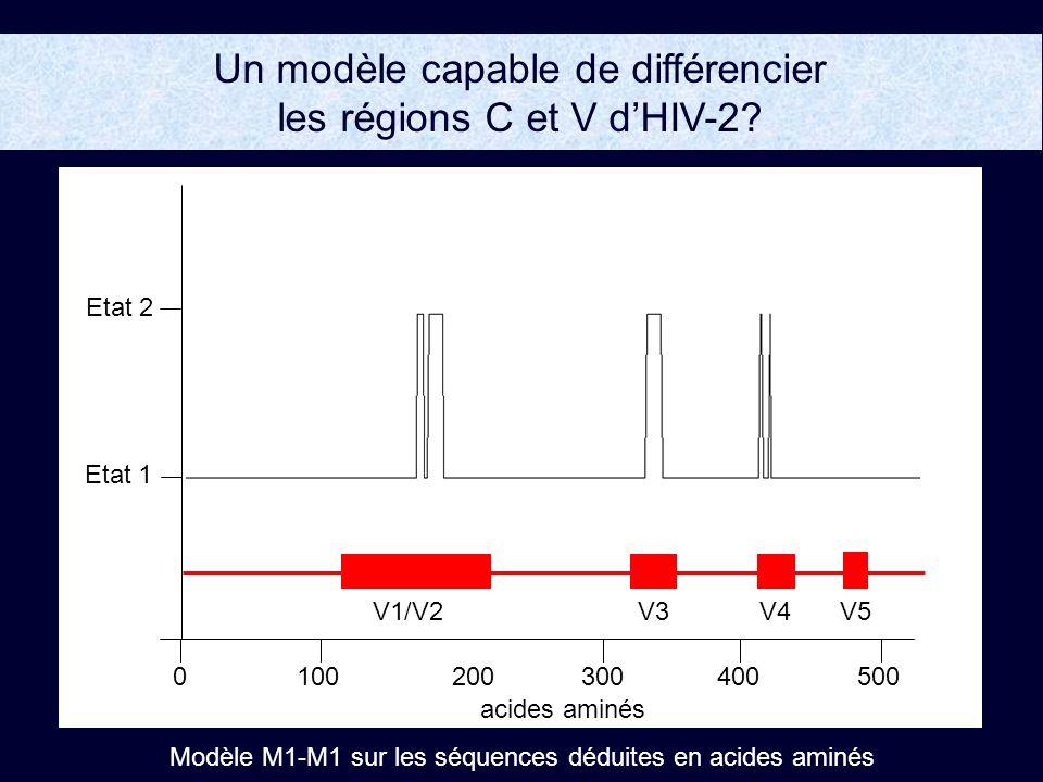 Un modèle capable de différencier les régions C et V dHIV-2.