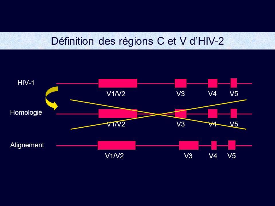 Définition des régions C et V dHIV-2 V1/V2V3V4V5V1/V2V3V4V5V1/V2V3V4V5 HIV-1 Homologie Alignement