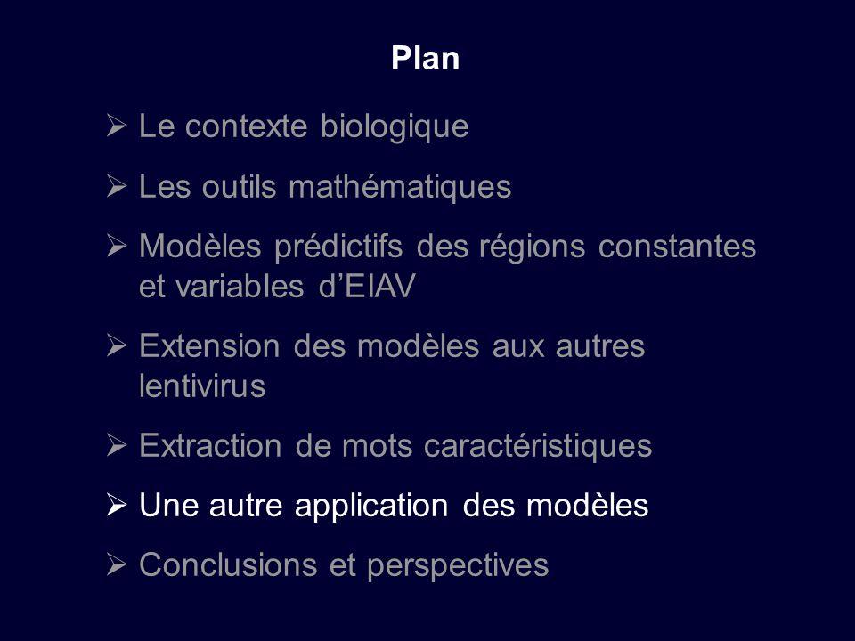 Le contexte biologique Les outils mathématiques Modèles prédictifs des régions constantes et variables dEIAV Extension des modèles aux autres lentivirus Extraction de mots caractéristiques Une autre application des modèles Conclusions et perspectives Plan