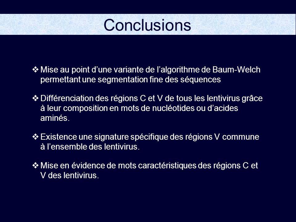 Conclusions Mise au point dune variante de lalgorithme de Baum-Welch permettant une segmentation fine des séquences Différenciation des régions C et V de tous les lentivirus grâce à leur composition en mots de nucléotides ou dacides aminés.