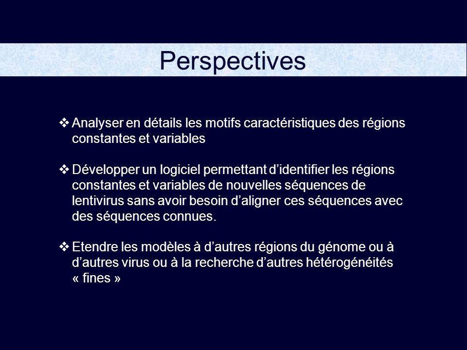 Perspectives Analyser en détails les motifs caractéristiques des régions constantes et variables Développer un logiciel permettant didentifier les régions constantes et variables de nouvelles séquences de lentivirus sans avoir besoin daligner ces séquences avec des séquences connues.