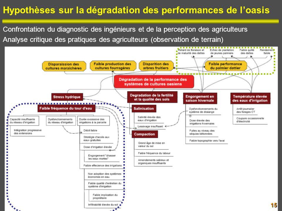 Hypothèses sur la dégradation des performances de loasis Confrontation du diagnostic des ingénieurs et de la perception des agriculteurs Analyse criti