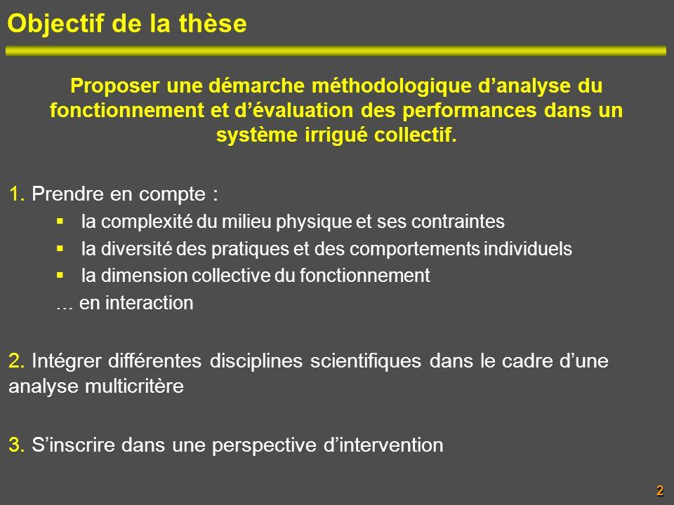 Objectif de la thèse Proposer une démarche méthodologique danalyse du fonctionnement et dévaluation des performances dans un système irrigué collectif
