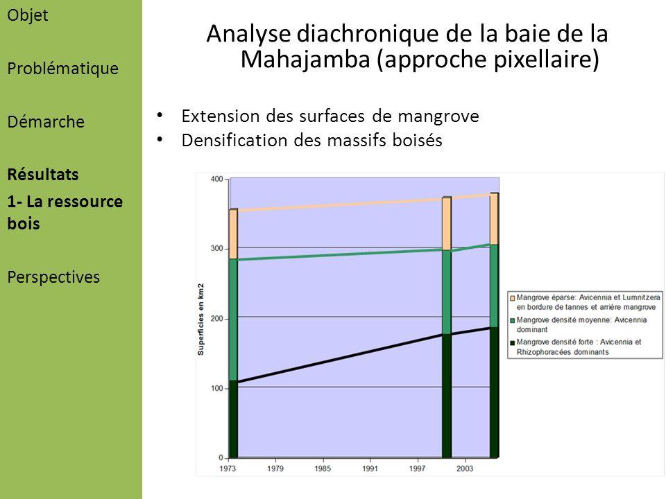 Analyse diachronique de la baie de la Mahajamba (approche pixellaire) Extension des surfaces de mangrove Densification des massifs boisés Objet Problé