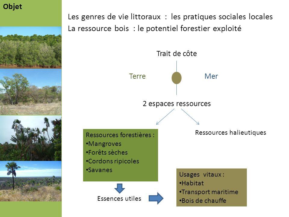 Les genres de vie littoraux : les pratiques sociales locales La ressource bois : le potentiel forestier exploité Objet Problématique Démarche Résultat