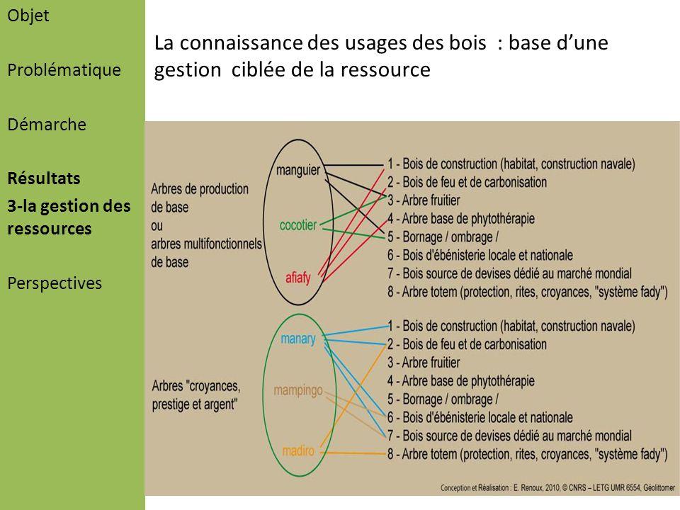 Objet Problématique Démarche Résultats 3-la gestion des ressources Perspectives La connaissance des usages des bois : base dune gestion ciblée de la r