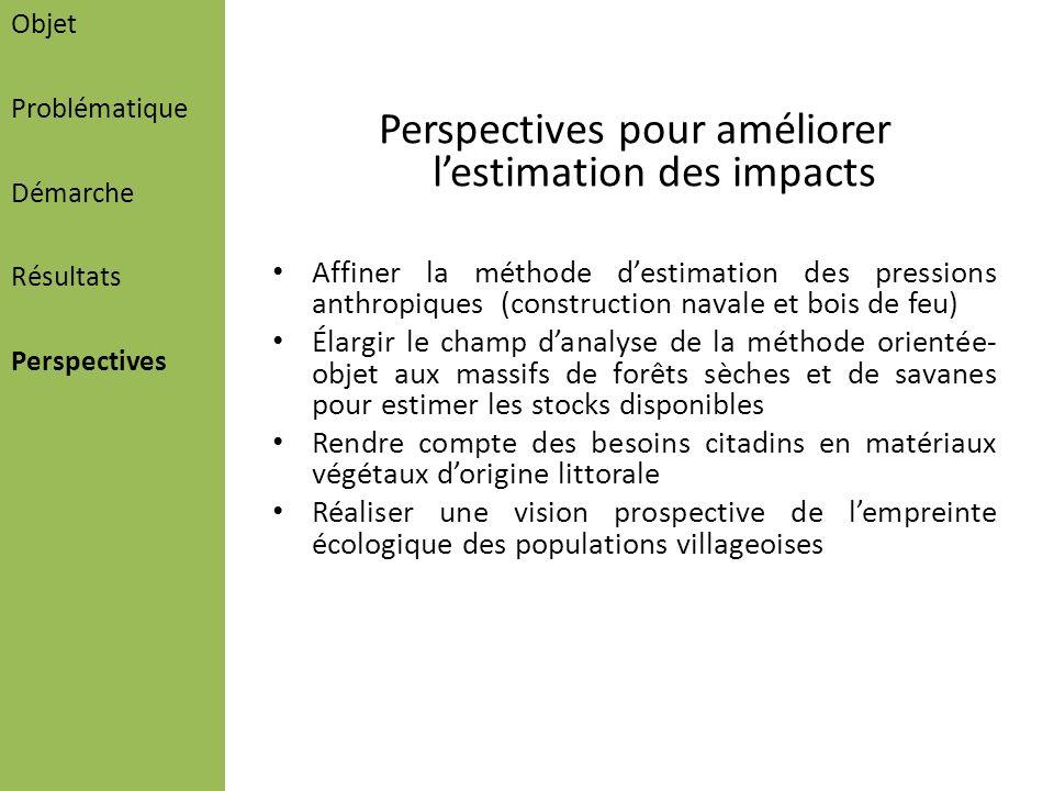 Perspectives pour améliorer lestimation des impacts Affiner la méthode destimation des pressions anthropiques (construction navale et bois de feu) Éla