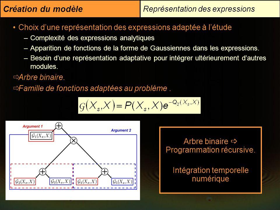 Représentation des expressions Création du modèle Choix dune représentation des expressions adaptée à létude –Complexité des expressions analytiques –
