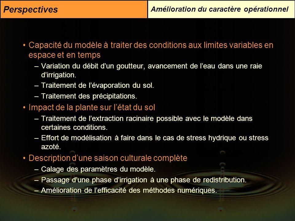Perspectives Amélioration du caractère opérationnel Capacité du modèle à traiter des conditions aux limites variables en espace et en temps –Variation