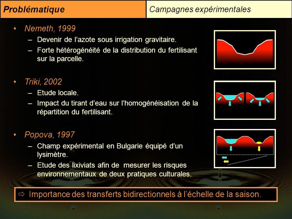 Problématique Campagnes expérimentales Nemeth, 1999 –Devenir de lazote sous irrigation gravitaire. –Forte hétérogénéité de la distribution du fertilis