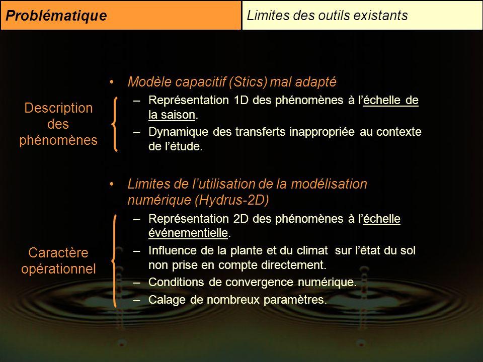 Problématique Limites des outils existants Modèle capacitif (Stics) mal adapté –Représentation 1D des phénomènes à léchelle de la saison. –Dynamique d