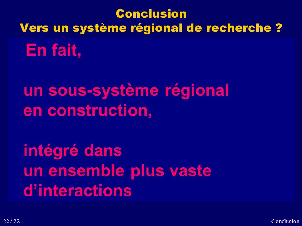 Conclusion Vers un système régional de recherche ? Conclusion Une recherche bretonne dynamique et polyvalente Plusieurs domaines dexcellence Une organ