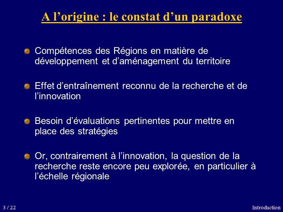 A lorigine : le constat dun paradoxe Compétences des Régions en matière de développement et daménagement du territoire Effet dentraînement reconnu de